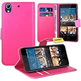 FoneExpert® HTC Desire 728G Handy Tasche, Wallet Hülle Flip Cover Hüllen Etui Ledertasche Lederhülle Premium Schutzhülle für HTC Desire 728G (Rosa)