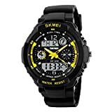 Men's Digital Sports Watch Waterproof Military Watch Shock-Proof LED Luminous Wrist Watch with Alarm Calendar Stopwatch, Yellow