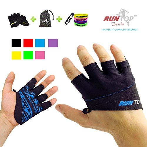 RUNTOP Workout Gloves Weight Lifting Grips with Silicon Padding Exercise Gloves Perfect for Women Men Crossfit Training WODS Weightlifting Bodybuilding Powerlifting Gym Fitness (Electric Blue, M)