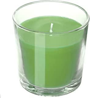 IKEA SINNLIG Scented Candle in Glass, Apple and Pear, Green 1PCS,
