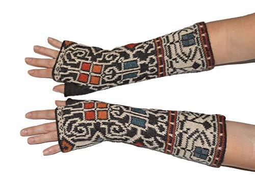 Invisible World Damen 100% Alpaka fingerlose Handschuhe – ideale Halbfinger Winter Strickhandschuhe – Congo