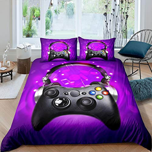 Gamepad Bedding Set Headphone Video Game Gamepad Duvet Cover Set for Kids Boys Girls Music Notes Melody Comforter Cover Game Controller Quilt Cover Bedroom Collection 3Pcs Super King,Purple
