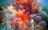 Póster e impresiones de pintura de pared de niebla de nube colorida abstracta e impresiones de choque visual imagen de arte de acuarela decoración del hogar para sala de estar Z7 50x70cm