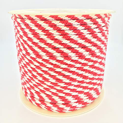 """Derby Rope 5/8"""" x 200' Solid Braid Multifilament Utility Propylene Rope, All Purpose MFP, Soft Touch Equestrian Derby Rope, Cord for Crafts, Sports, Landscaping, Horse Tack, Pets & Décor,Red and White"""