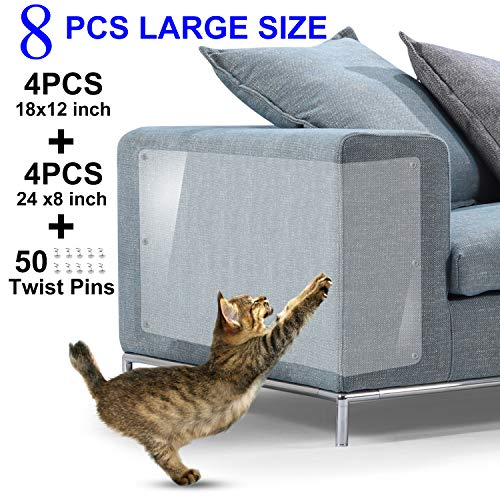 Furniture Scratch Guards, X-Large Premium Flexible Vinyl Cat Couch Protector Guards with Pins for Protecting Your Upholstered Furniture, Cat Scratch Deterrent Pad, 18'L X 12'W & 24'L X 8'W