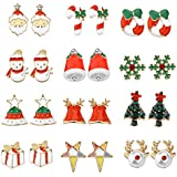 Women Christmas Earring Stud - 12 Pairs Hypoallergenic Christmas Gifts for Teens Girls Cute Festive Earrings Jewelry Set Party Gold-tone