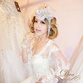 ヘッドドレス ウェディングヘッドドレス レース ストーンビジュー 花びら ヘッドドレス 花嫁