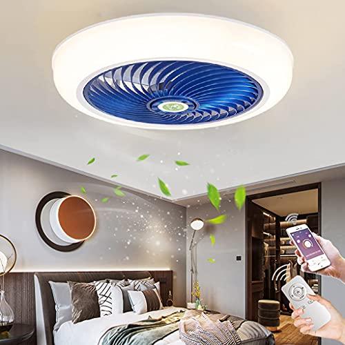 Moderna Invisible Lámpara de Ventilador LED Ventilador de Techo con Luz Control Remoto APP 3 Velocidades Ventilador de Plafon Silencioso Cronometrado Luz de Ventilador para Dormitorio Cuarto Niños