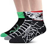LIN Coolmax Sports Bike Running Spin Class Hiking Gym Training Cool Funny Cycling Socks Pattern Spider Skeleton Lizard, 3 Pack, L(10-13)