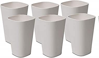 St Stehlen 100% Pure Melamine 5Inch Light Weight Drinking Glass Set for Water, Juice and Cocktails - (Set of 6, Pure White)