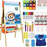 MEEDEN Kids Wooden Art Easel for Kids, Adjustable Double-Sided Standing Magnetic Whiteboard & Chalkboard Easel with 3 Drawing Paper Rolls, 12 Washable Finger Paints & Art Supplies for Kids Painting