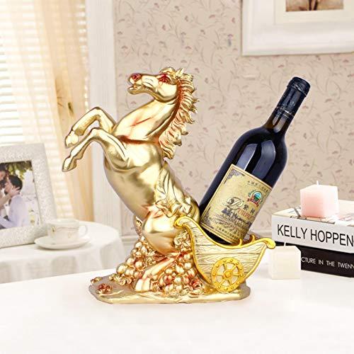 Artesanía de Resina Champagne Carro tirado por Caballos Doble Estante de Vino Decoración Sala de Estar del hogar Gabinete de Vino