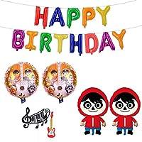 リメンバー・ミー 誕生日 飾り付け パーティー セット Coco ディズニー キャラクター 可愛い 子供 女の子 男の子 オレンジ レッド happy birthday ガーランド バルーン 風船 ケーキトッパー 6枚セット