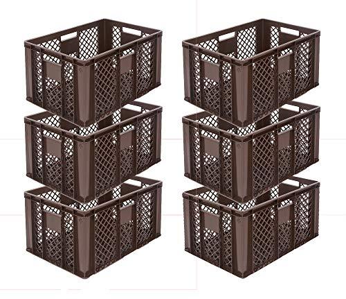 6x Eurobehälter/Stapelkorb/Bäckerkisten, Grundmaß 600x400x320 mm. Eurobox stapelbar aus Kunststoff in TOP-Qualität - Made in Germany (Gelb) (Braun)