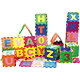 Kids Foam Play Mat (36-Piece Set) 5x5 Inches Interlocking Alphabet and Numbers Floor Puzzle Colorful EVA Tiles Girls, Boys Soft, Reusable, Easy to Clean by DIMPLE,Toddler,DC12703