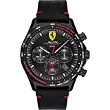Scuderia Ferrari | Men's Pilota Evo | Black Leather Strap | Black Dial 0830712