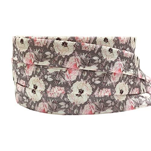 16mm leopardo flores impresión animal pliegue sobre banda elástica cinta de costura artesanía hecha a mano accesorios BRICOLAJE Bebé Diadema Pelo Lazos (Color : P1016, Width : 5yard elasitc)