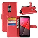 NO BRAND Phone Case PLT Litchi Textura Horizontal Flip Funda de Cuero for Vodafone Inteligente N9 / VFD 720, la Carpeta y el Soporte y Las Ranuras for Tarjeta (Negro) (Color : Red)