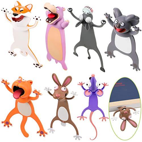 7 Piezas Marcador de Libro de Animal 3D Marcapáginas en Animal de Dibujos Animados PVC Aplastados para Estudiantes Niños Lectura Fiesta de Recuerdo
