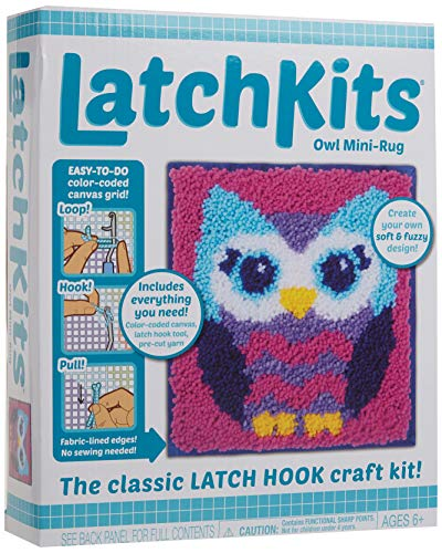 LatchKits Mini-Rug Sewing Kit The Classic Latch Hook Craft Kit - Owl
