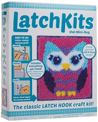 LatchKits Mini-Rug Sewing Kit The Classic Latch Hook Craft Kit - Owl