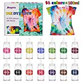Anpro 160 PCS Tie Dye Kit,14 Colores Tintes Textiles Brillantes Tie Dye,100 ML * 14 Botella, Adecuado para Arte de Bricolaje Tie-Dye para Niños y Adultos