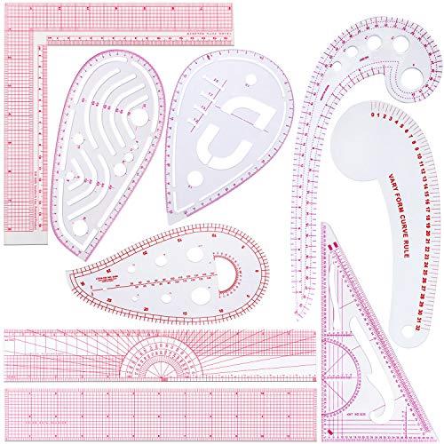 9 Stück Französisch Metrisch Lineal Abgeschrägt Transparent Lineal Kurve Geformt Messen Lineal Kunststoff Nähen Werkzeuge DIY Nähen Lineal Set für Nähen Schneiderei Kunsthandwerk, 9 Stilen