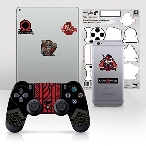 """Controller Gear Officially Licensed God of War Dualshock 4 Wireless Controller and Tech Skin Set """"Vertical Tapestry"""" - PlayStation 4"""