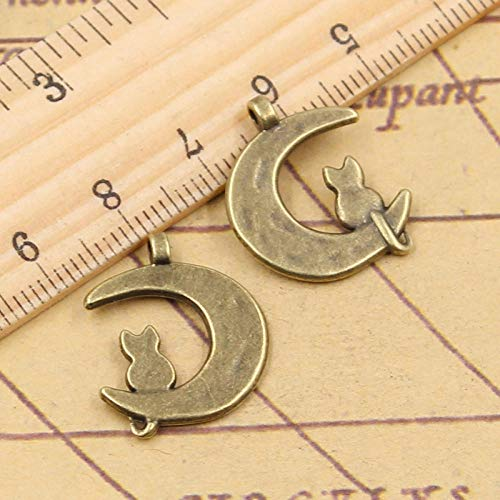 WANM 20Pcs Charms Moon Cat 22X18Mm Tibetan Bronze Silver Color Pendants Antique Jewelry Making Diy Handmade Craft For Necklace