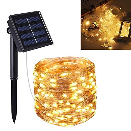Catena Luminosa Solare, QXMCOV Impermeabile Stringa 200 Luci LED Stringa Luci Solari Lucine Decorative per Camere da Letto Giardino Casa Feste Matrimonio, Bianco Caldo