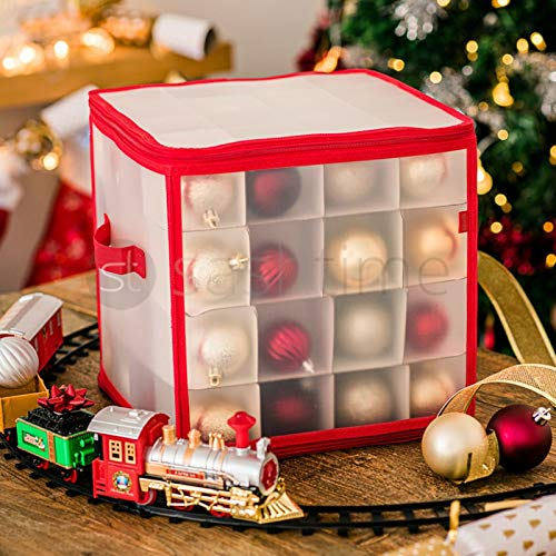 Christmas Bauble Storage Bag Sturdy 4 Layered Box Can Store Up to 64 Baubles Xmas Tree Ornaments & Decorations Storage Container Designed for Delicate Christmas Decorations - 5 Year Warranty (Red)