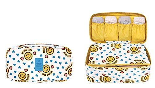 MZP Corée du Sud Voyage Voyage sac de lavage boîte de rangement étanche sous-vêtements soutien-gorge paquet de finition sac de rangement de sous-vêtements , yellow smiley face