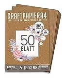 Premium Papel de Estraza DIN A4 de 180 g – 21 x 29,7 cm - Papel de manualidades, cartón natural,...