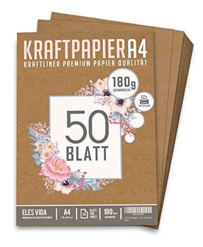 50 Blatt Kraftpapier A4 Set - 180 g - 21 x 29,7 cm - DIN Format - Bastelpapier & Naturkarton Pappe Blätter aus Kraftkarton zum Drucken, Kartonpapier Basteln für Vintage Hochzeit Geschenke Etiketten