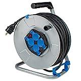 AS Schwabe 10319 - Carrete alargador de cable (50 m, diámetro de 285 mm, H05VV-F 3G1,5, IP20 en interiores), color negro