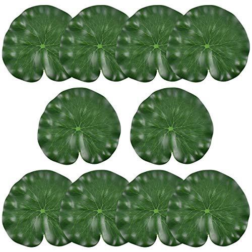 Jinlaili 10 Stück Künstliches Lotusblatt, 18CM Floating Lotusblatt Teichpflanze, Aquarium Pflanze für Garten Fischteich Teich Dekoration, Wasserpflanzen Pflanzen Aquarium Fisch Tank Dekoration