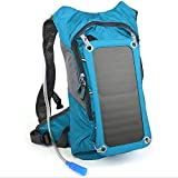Solar Backpack Charger and 2L Hydration Bag, Hiking Daypack With 5V Power Supply (Blue)