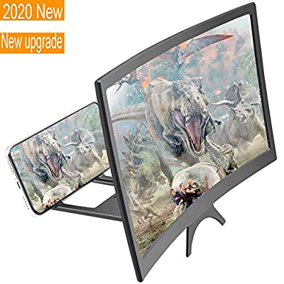 Curved Screen Magnifier 12'', Lightest 3D Magnifier Projector Screen for Movies, for iPhone Samsung Galaxy and All Smartphones (12'') from Bettyliss