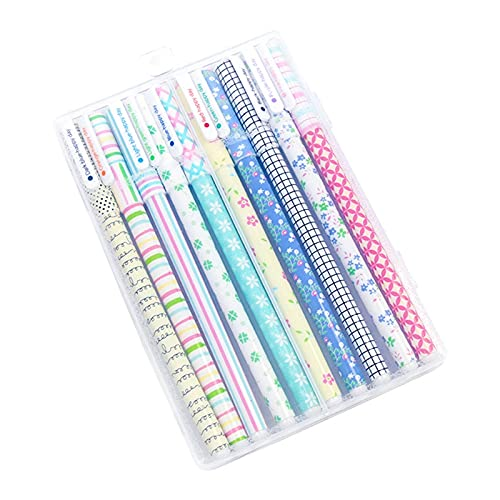 ETSK - Pack de 10 bolígrafos de tinta de gel de color (0,38 mm, rellenables, coloridos, ideales para estudiantes, adolescentes, graffiti y tomar notas