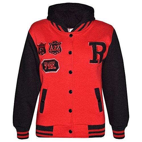 A2Z 4 Kids Mädchen baseball r hooded jacket unihoodie new age 2 3 4 5 6 7 8 9 10 11 12 13 jahre 5-6 jahre rot & amp; schwarz