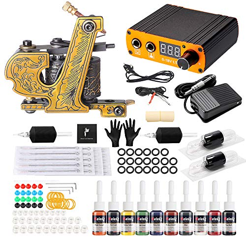 Solong Tattoo Kit Tatouage Complet 1 Machines à Tatouer 1 Alimentation LCD 10 Encres 20 Aiguilles de Tatouage...