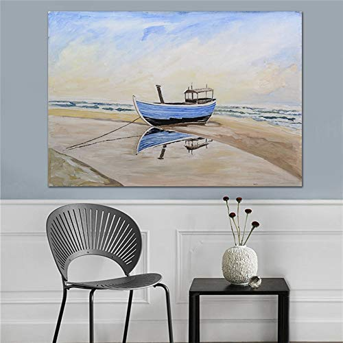 wZUN Velero Azul Lienzo Pintura al óleo mar Sala de Estar Comedor Impresiones de Arte de Pared Decorativas Impresiones de Carteles en Lienzo 60x40 cm