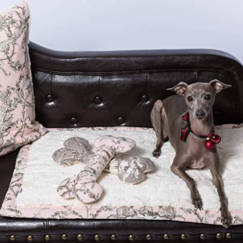 Hundedecke, Toile de Jouy, Decke für den Hund rosa