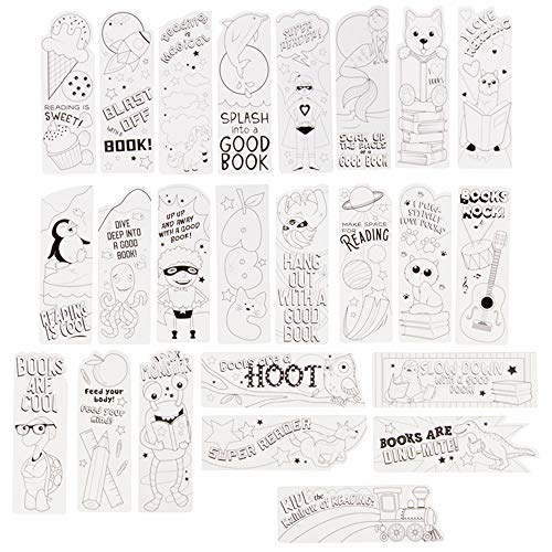 Juvale Color Your Own Bookmarks, Animal and Action Hero Theme (24 Pack)