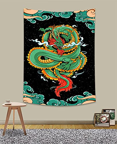 UHOMETAP Chinese Dragon Tapestry Chinese Mythology and Legend Green Dragon Print Tapestry for Office Studio Wall Hanging Tapestry 40X60 Inches GTWYUH557