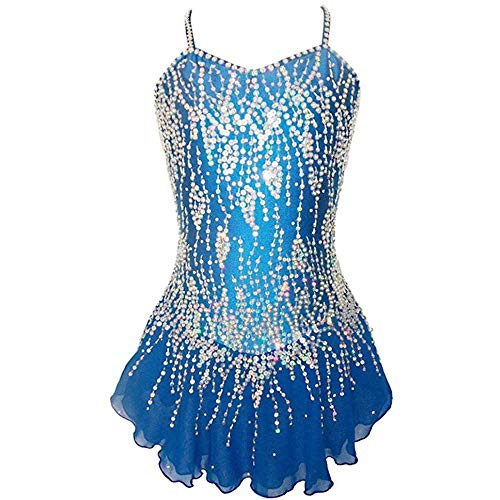 HYQW Handmade Skating Wear Strass Eiskunstlauf Kleid Girls Dancing Performance Competition Kostüm,Blue-M