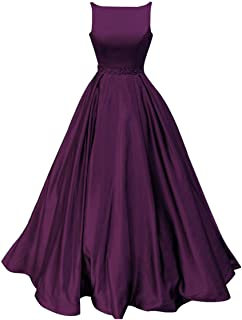 Prom Dresses Long Satin Beaded A-Line Formal Ball Gown for Women with Pockets