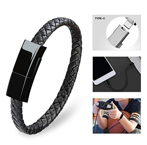 Dzzkoye USB Type C Cable Bracelet for Men Samsung S8 Short Portable Leather Charger (Black L)