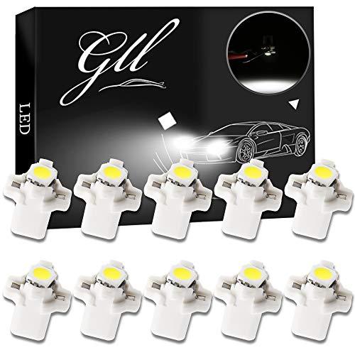 Grandview 10pcs Blanca T5 Bombillas LED SMD-1-5050 B8.5 Para el Coche del Velocímetro del Tablero de Instrumentos Instrumento Medidor de Garantía a Base de Indicadores de Luz de 2 Años