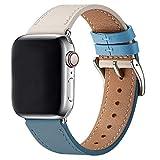 WFEAGL コンパチブル Apple Watch バンド,は本革レザーを使い、iWatch SE、 Series 6/5/4/3/2/1、Sport、Edition向けのバンド交換ストラップです コンパチブル アップルウォッチ バンド (42mm 44mm, 薄い青/象牙の白+シルバー 四角い バックル)